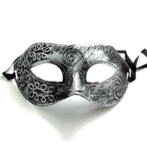 [1pc Silver Retro Roman Gladiator Style Festival Party Half Face Mask Masquerade Men Male] (Male Masquerade Mask)