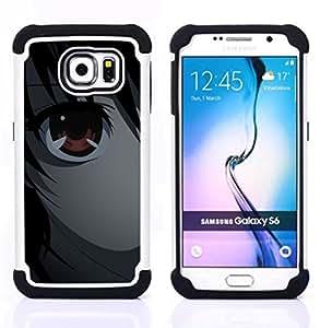 """Samsung Galaxy S6 / SM-G920 - 3 en 1 impreso colorido de Altas Prestaciones PC Funda chaqueta Negro cubierta gel silicona suave (Anime los ojos"""")"""