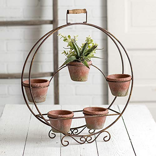 CTW Home Collection Round Plant Stand with Terra Cotta Pots