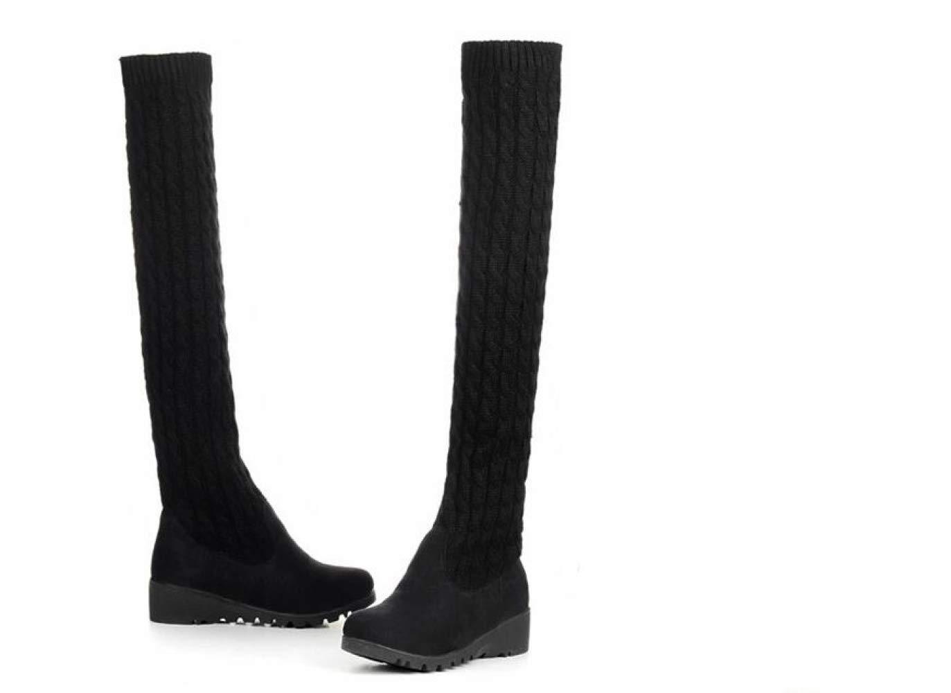 Frauen Stiefel Herbst Und Winter Winter Winter Niedrige Ferse Lange Stiefel Stricken Hohe Beinstiefel Warme Stiefel Über Die Knie Mode Warme Damenschuhe 841504