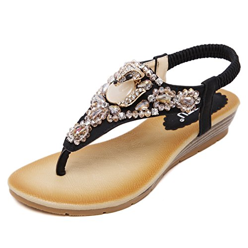 D2c Beauty Womens Perline Strass Moda Sandali Piatta Perizoma Nero-2