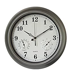 AsureQ 18 Metal Waterproof Frame Large Wall Clock with Temperature & Humidity Stats Classic Decorative Non-Ticking Quartz