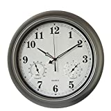AsureQ 18'' Metal Waterproof Frame Large Wall Clock with Temperature & Humidity Stats Classic Decorative Non-Ticking Quartz