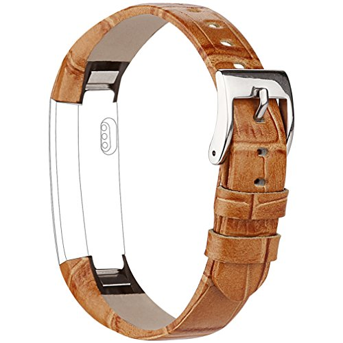 Buckle Leather Wristband (Vancle Fitbit Alta (HR) Band/Fitbit Alta HR 2017 Leather Wristband Adjustable Replacement Accessories Strap with Buckle for Fit bit Alta (Brown Bamboo Texture))