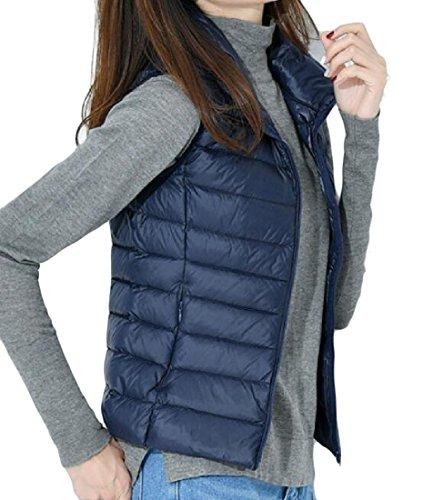 Più Doufine Giù Donna Persone Formato Sottile Collare Maglia Cappotto Leggerezza Navy Blu Semplice La 6FFZ4rXg