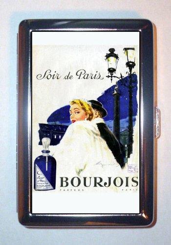 1955 Soir de Paris Bourjois Retro Cosmetics Stainless Steel ID or Cigarettes Case (King Size or 100mm)