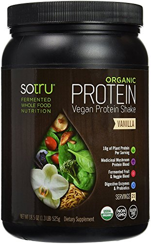 SoTru Vegan Protein Shake Vanilla - 525 Grams - Whole Food Plant-Based Powder with Green Superfoods, Enzymes & Probiotics - USDA Certified Organic, Non-GMO, Gluten-Free - 21 Servings
