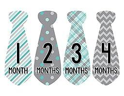 Months in Motion 712 Monthly Baby Stickers Necktie Tie Baby Boy Months 1-12