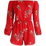 Woaills Women Sexy Rompers, Ladies Belt Backless Print Floral Jumpsuit Off Shoulder Clothes (XL, Red)