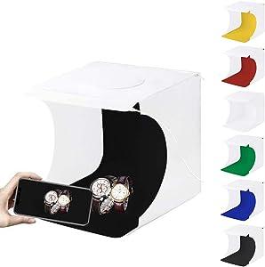 Portable Mini Folding Lightbox Photography Photo Studio Softbox Twin LED Strip wtih 6 Backdrops,2 USB LED Lighting (1100LM) Front and Back (20 LED Lights Shooting Tent)