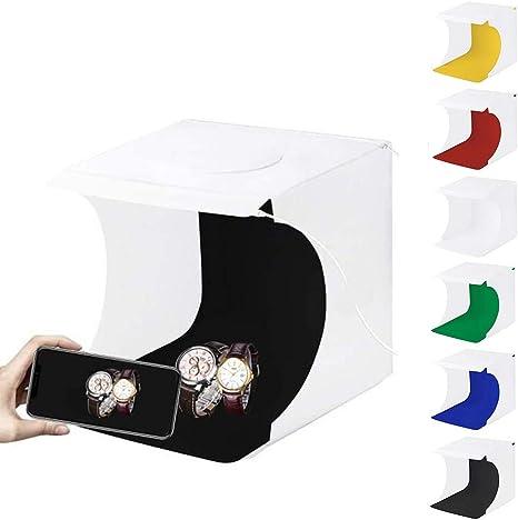 PULUZ - Caja de luz para estudio fotográfico (2 luces LED, 1100 lúmenes) con 6 fondos de color: Amazon.es: Electrónica
