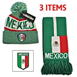 Mexico Set Beanie Skull Cap Hat and Scarf Reversible Soccer (Green)