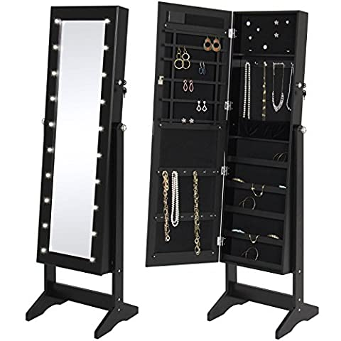 LED Lighted Mirrored Jewelry Cabinet Armoire Stand- Black Bonus free ebook By Allgoodsdelight365 - Door Recessed Honey Oak Cabinets