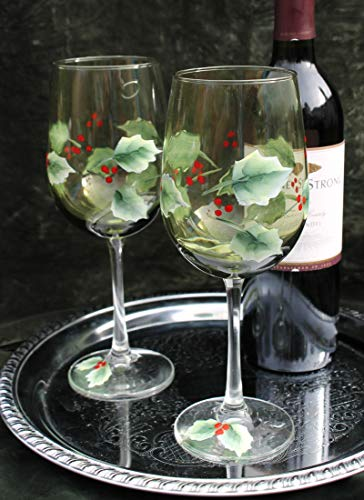 Hand Painted Christmas Wine Glasses (Set of 2) - Olive green glass ()