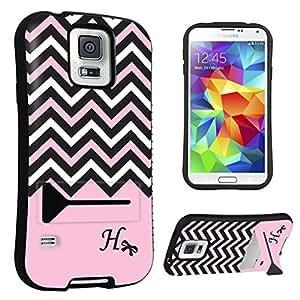DuroCase ? Samsung Galaxy S5 Kickstand Case - (Black Pink White Chevron H)