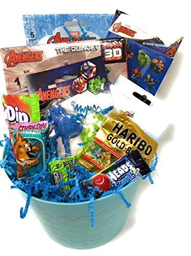 Happy Easter Basket Kids Toddlers Gift Children Party Action Figure Pack Avenger Pre Made Eggs Goodies Candy Baskets Ninja Dress up Toys Doll - Avengers by Easter and Birthday Basket