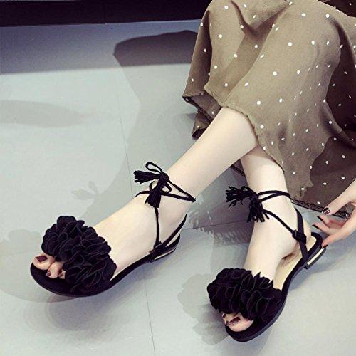 Fheaven Vrouwen Kwast Bloemen Platte Casual Strand Veterschoenen Sandalen Zwart