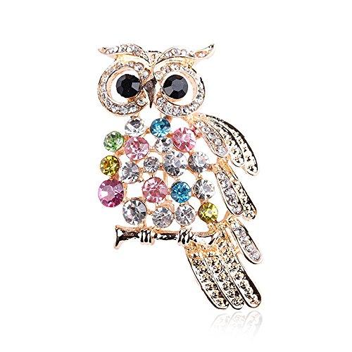 CHUYUN Colorful Crystal Rhinestone Owl Cute Animal Brooch Pin Jewelry