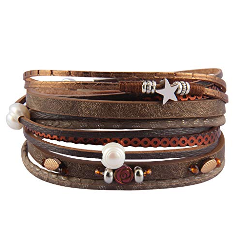 AZORA Womens Leather Wrap Bracelet Handmade Pearls Beads Cuff Bangle Bracelets for Women Girls (Brown)