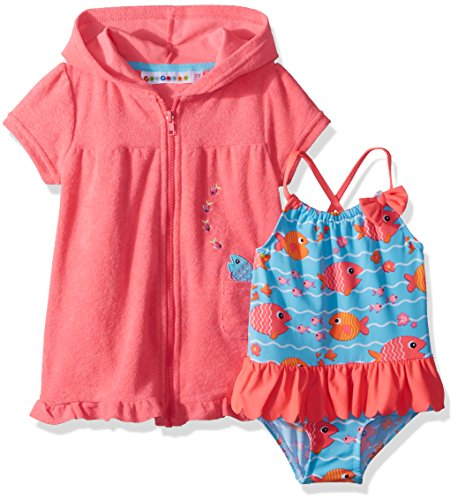 Wippette Toddler Girls' Coverup Set With Fish and Waves, Diva Pink, 3T by Wippette