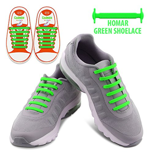 Homar Kids No Tie Shoelaces - Best in No Tie Shoelace Replacement Accessories - Rubber Elastic Athletic Flat Shoe Laces for Sneaker Boots Oxford and Casual Shoes - Green