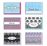 Assorted Thank You Appreciation Cards Bulk Blank Note Cards Set 48 Pack Assortment & 6 Designs, Baby Shower, Wedding, Bridal Shower, Condolence