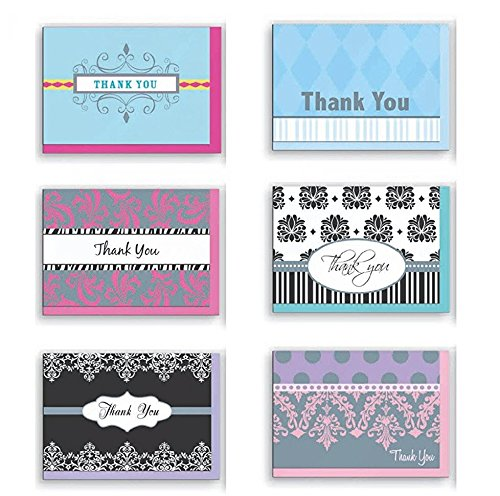 Assorted Thank You Appreciation Cards Bulk Blank Note Cards Set 48 Pack Assortment & 6 Designs, Baby Shower, Wedding, Bridal Shower, Condolence Thank You Cards INTIG53294
