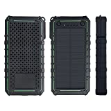 15000mAh Solar Charger,LANIAKEA Portable Dual USB Solar Power Bank, External Battery Pack Phone Charger with 2 LED Flash lights for iPhone iPad Samsung HTC Cellphones and More Devices,Green