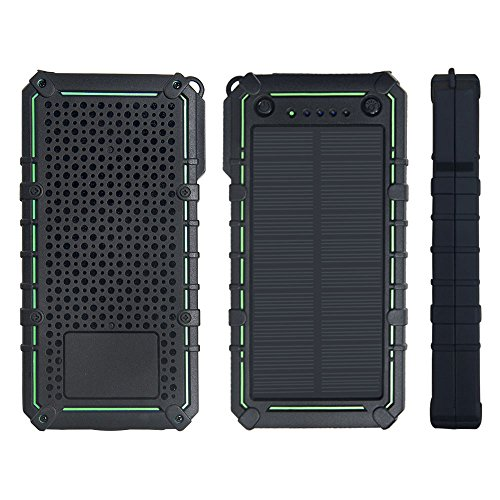 15000mAh Solar Charger,LANIAKEA Portable Dual USB Solar Power Bank, External Battery Pack Phone Charger with 2 LED Flash lights for iPhone iPad Samsung HTC Cellphones and More Devices,Green by LANIAKEA