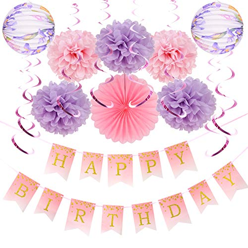 Easy Joy Girls Happy Birthday Decoration Kit Tissue Paper Pom Poms Accordion Lanterns with Rainbow Foil Hanging Swirls Pink Party Supplies