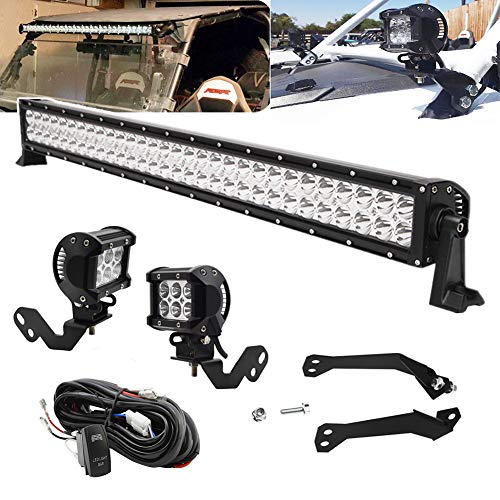 30 Inch 180W LED Front Windshield Straight LED Light Bar and 4 Inch 18W Roll Cage LED Light Pods w/Rock Switch Wire Kit & Below Roof+A-Pillar Mount Brackets Fit for Polaris RZR XP 1000 900