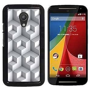 Blanco rectángulos coloreados - Metal de aluminio y de plástico duro Caja del teléfono - Negro - Motorola G 2ND GEN II