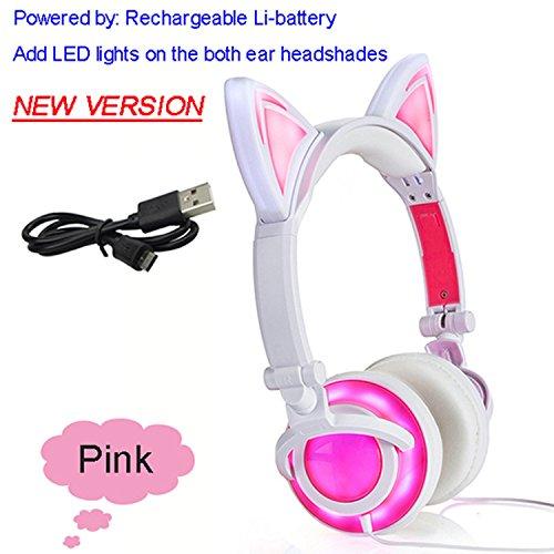 2018 Cat Ear headphones LED Ear headphone cat earphone Flashing Glowing Headset,NEW Pink,China ()