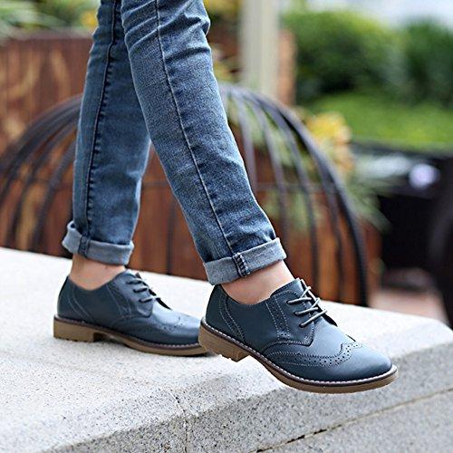 T-july Chaussures Wingtip Wingtip Pour Femme - Retro Perforé Talon Bas Vintage Performance Chaussures Souples Vert