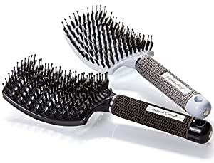 Boar Bristle Hair Brush – Curved and Vented Detangling Hair Brush for Women Long, Thick, Thin, Curly & Tangled Hair