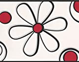 Abstract Red Black Flower Drawing White Wallpaper Border for Kids, Roll 15' x 9''