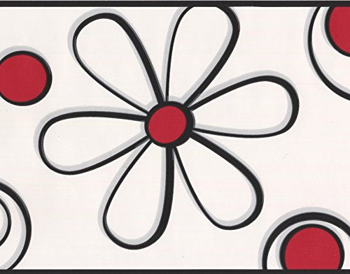 Abstract Red Black Flower Drawing White Wallpaper Border for Kids, Roll 15' x 9'' (Red Kids Wallpaper)