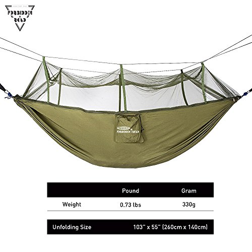 Forbidden Road Camping Hammock Single & Double Mosquito Net Hammock Capacity 330lbs Lightweight Portable 0.73lbs for Outdoor Hiking Backpacking Travel Backyard Ropes Carabiners Included – Green Blue