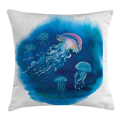 XGUPKL Jellyfish Decor Throw Pillow Cushion Cover, Swimming Jellyfish in Sea Natural Wildlife Holiday Destinations Art Design, Decorative Square Accent Pillow Case, 18 X 18 Inches, Blue Pink -