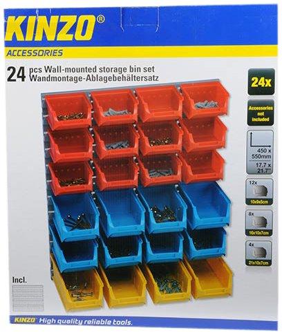 Kinzo 29616 Set De Rangement Mural Pour Visserie 24 Boites