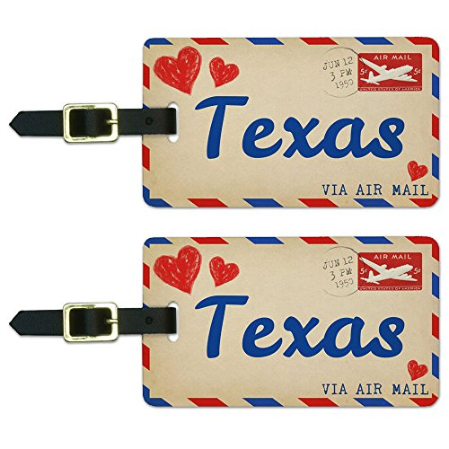 (Graphics & More Air Mail Postcard Love for Texas Luggage Suitcase Carry-on Id Tags, White)