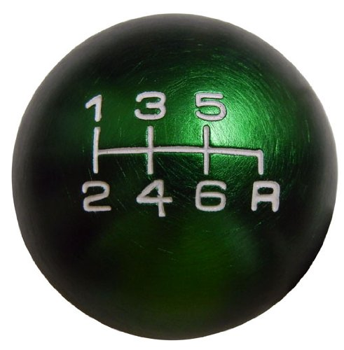 10x1.25mm Thread 6 speed JDM Round Ball Shift Knob in Green Billet Aluminum for Infiniti G35 G37 (Billet Aluminum Ball)