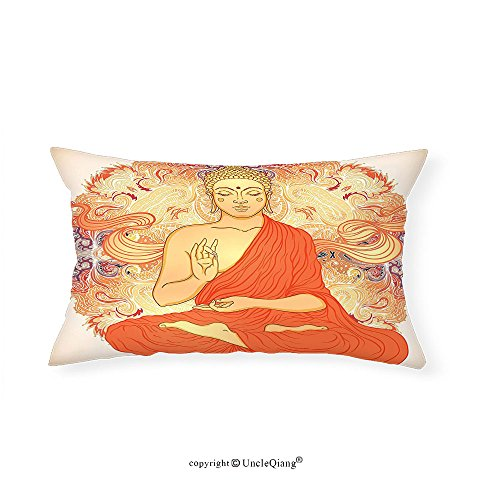 VROSELV Custom pillowcasesAsian Yoga Decor Meditation Aura Thai Temple Ornamental Motive Spiritual Design Print Bedroom Living Kids Girls Boys Room Dorm Accessories Orange Purple(16''x20'') by VROSELV