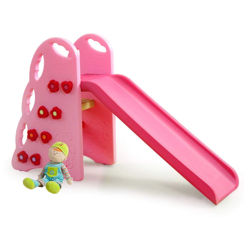 Freestanding Slides Children's Slide Indoor Household Small Slide Outdoor Kindergarten Baby Slide Plastic Toys Load Bearing 40kg Baby Fun Playground (Color : Pink, Size : 100x34x90cm)
