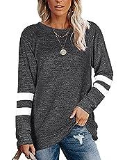 noabat Womens Casual V Neck T Shirts Novelty Striped Short Sleeve Summer Top