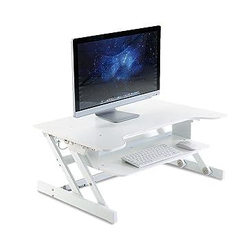 LVZAIXI Soporte de Escritorio para computadora Ordenador portátil Estación de Trabajo Altura Ajustable Estación de Trabajo de Escritorio Ergonómico Oficina ...