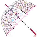 HAOCOO Unicorn Clear Umbrella,Bubble Transparent Fashion Dome Auto Open Umbrella Windproof for Outdoor Weddings or Events(Red)