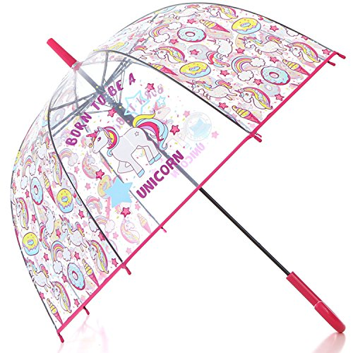 HAOCOO Unicorn Clear Umbrella,Bubble Transparent Fashion Dome Auto Open Umbrella Windproof for Outdoor Weddings or Events (Red)