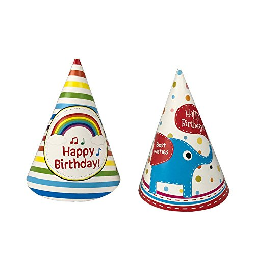 Funny Paper Cone Happy Birthday Party Hats for Children and Adults 18 PCS -