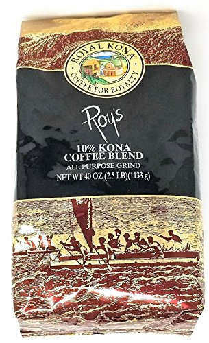 Hawaii Stately Kona Coffee Roy's 10% Kona Coffee Blend, Ground, HUGE 2.5 LB, 1133g Bag